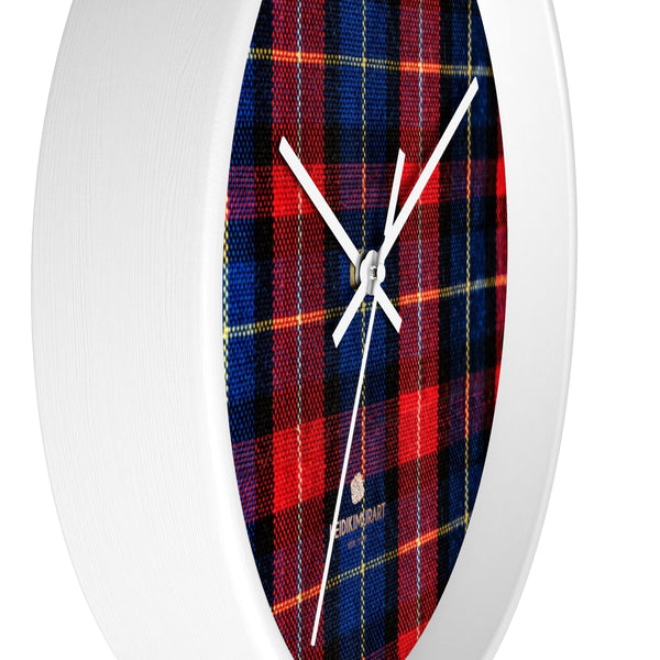 Classic Red Plaid Pattern London Calling Modern 10 in. Diameter Wall Clock-Made in USA-Wall Clock-Heidi Kimura Art LLC