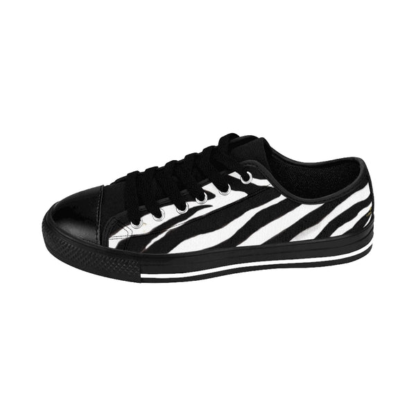 Classic Zebra Men's Sneakers, Zebra Stripe Animal Print Low Top Shoes-Shoes-Printify-Heidi Kimura Art LLC Classic Zebra Men's Sneakers, Zebra Stripe Animal Print Men's Low Tops, Premium Men's Nylon Canvas Tennis Fashion Sneakers Shoes (US Size: 7-14)