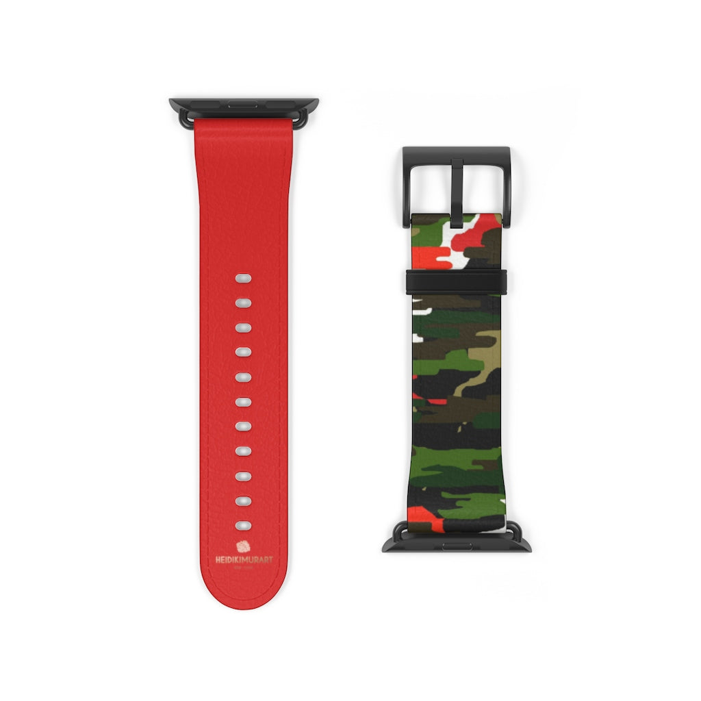Green & Red Camo Army Print 38mm/42mm Watch Band For Apple Watch- Made in USA-Watch Band-38 mm-Black Matte-Heidi Kimura Art LLC