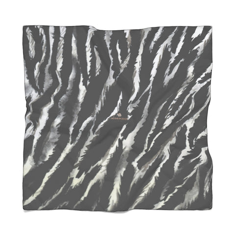 "Black Tiger Stripe Poly Scarf, Delicate Lightweight Polyester Designer Scarves- Made in USA-Accessories-Printify-Poly Voile-25 x 25 in-Heidi Kimura Art LLC Zebra Stripe Poly Scarf, Animal Print Lightweight Delicate Sheer Poly Voile or Poly Chiffon 25""x25"" or 50""x50"" Luxury Designer Fashion Accessories- Made in USA, Fashion Sheer Soft Light Polyester Square Scarf"