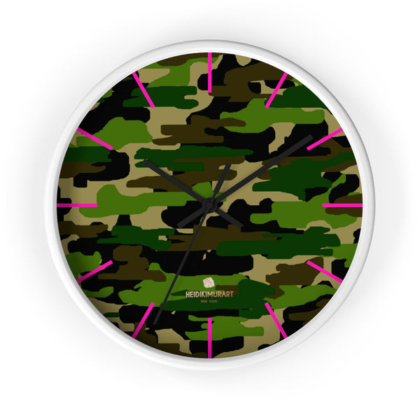 Green Camouflage Camo Army Military Print 10 in. Dia. Indoor Wall Clock- Made in USA-Wall Clock-10 in-White-Black-Heidi Kimura Art LLC