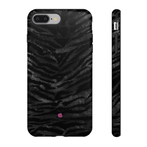Grey Tiger Striped Phone Case, Animal Print Tiger Stripes iPhone Samsung Case-Made in USA - Heidikimurart Limited