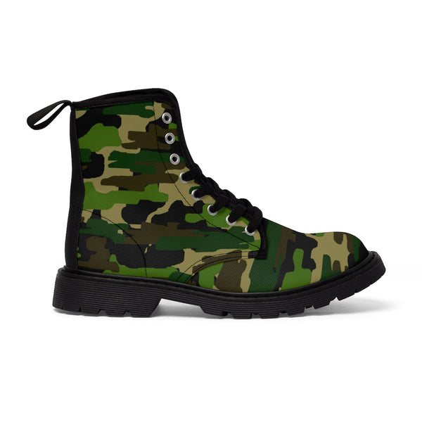 Green Army Military Camouflage Print Men's Lace-Up Winter Boots Cap Toe Shoes (US Size 7-10.5)-Men's Winter Boots-Heidi Kimura Art LLC