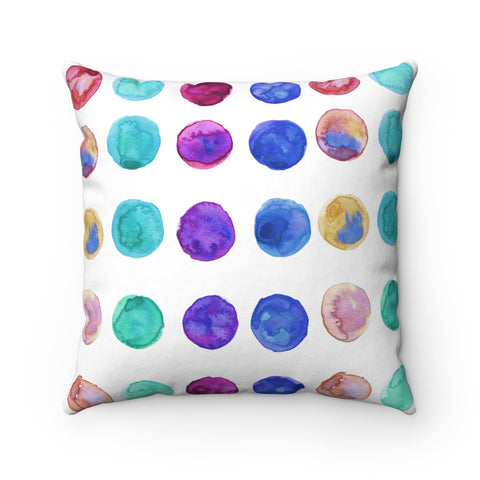 "Multicolor Watercolor Dots Dotted Abstract Print Spun Polyester Pillow-Made in USA-Pillow-14"" x 14""-Heidi Kimura Art LLC"