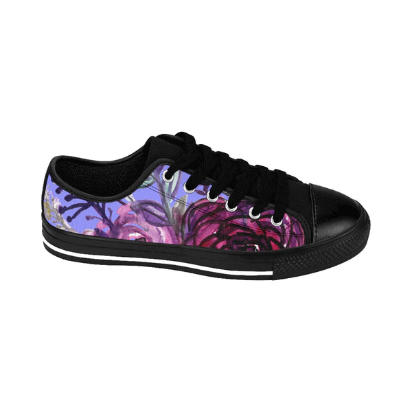 Romantic Purple Rose Floral Print Designer Women's Fashion Sneakers (US Size: 6-12)-Women's Low Top Sneakers-Heidi Kimura Art LLCPurple Rose Women's Sneakers, Romantic Purple Rose Floral Print Designer Women's Sneakers, Tennis Low Tops, Tennis Shoes, Trainers, Best Floral Sneakers, Women's Low-top Sneakers, Floral Print Shoes, Floral Women's Low Top Tennis Running Casual Fashion Sneakers Shoes (US Size 6-12)