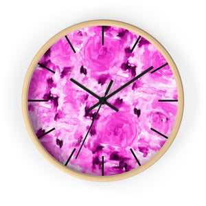 Pink Bubble Gum Rose Floral Rose 10 Inch Diameter Wall Clock - Made in USA-Wall Clock-Wooden-Black-Heidi Kimura Art LLC