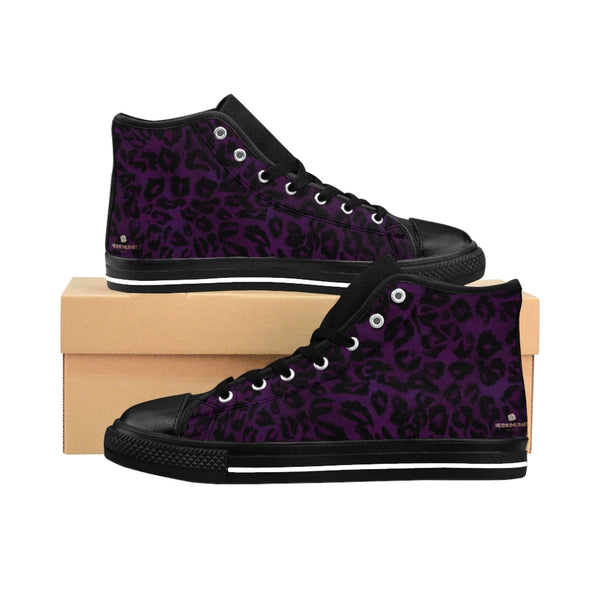 "Purple Leopard Women's Sneakers, Animal Print Designer High-top Fashion Tennis Shoes-Shoes-Printify-Heidi Kimura Art LLCPurple Leopard Women's Sneakers, Animal Print 5"" Calf Height Women's High-Top Sneakers Running Canvas Shoes (US Size: 6-12)"