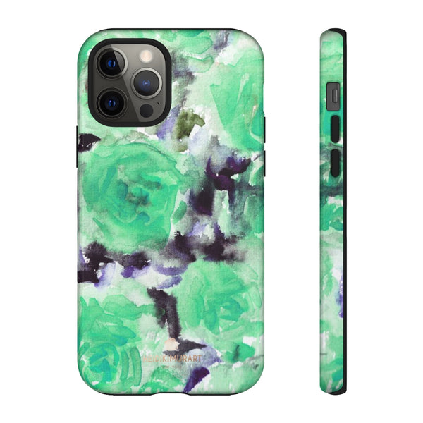 Turquoise Floral Print Tough Cases, Designer Phone Case-Made in USA-Phone Case-Printify-iPhone 12 Pro-Glossy-Heidi Kimura Art LLC