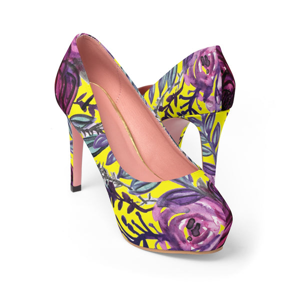 "Yellow Purple French Vintage-Style Rose Floral Print Women's 4"" Platform Heels-4 inch Heels-US 7-Heidi Kimura Art LLC"