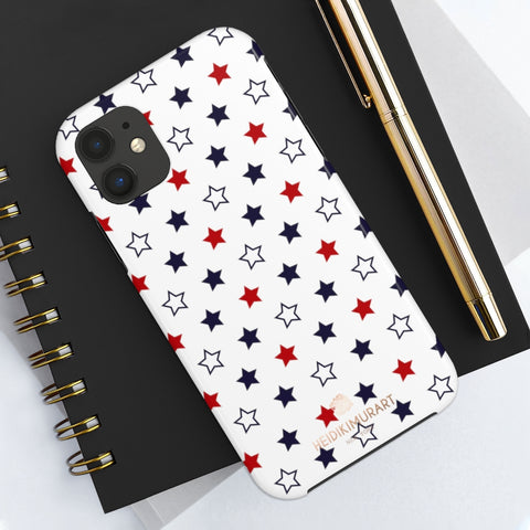 American Patriotic Print Phone Case, Star Print Case Mate Tough Phone Cases-Made in USA - Heidikimurart Limited  American Patriotic Print Phone Case, White Blue Red July 4th American Style Modern Designer Case Mate Tough Phone Case For iPhones and Samsung Galaxy Devices-Printed in USA