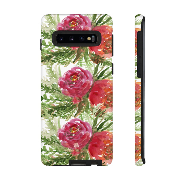 Red Orange Floral Phone Case, Flower Print Tough Designer Phone Case -Made in USA-Phone Case-Printify-Samsung Galaxy S10-Glossy-Heidi Kimura Art LLC