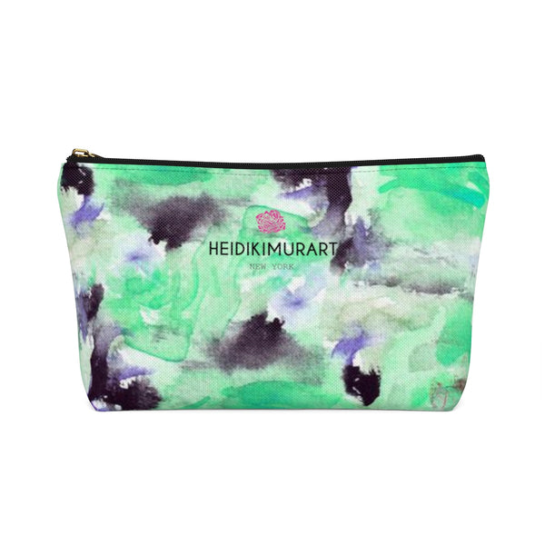 Turquoise Blue Misty Rose Floral Print Designer Accessory Pouch with T-bottom-Accessory Pouch-Heidi Kimura Art LLC