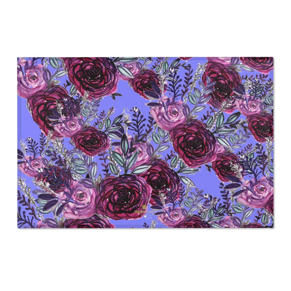 "Red Rose Purple Floral Print Designer 24x36, 36x60, 48x72 inches Area Rugs- Printed in the USA-Area Rug-36"" x 24""-Heidi Kimura Art LLC"