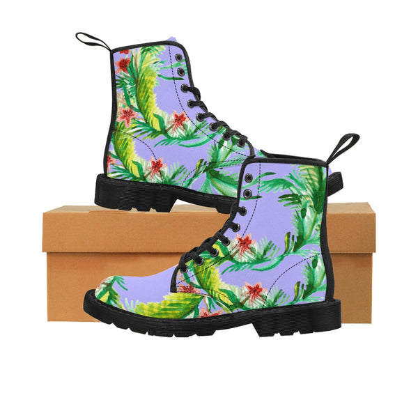 Itsumi Designer Shabby Chic Vintage-Style Violet Floral Print Women's Nylon Canvas Winter Boots (US Size: 6.5-11)Itsumi  Violet Floral Print Women's Nylon Canvas Winter Boots (US Size: 6.5-11)Lace -up Toe Cap Boots, Boots With Flower,Floral Boots Shoes