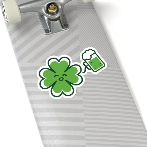 "Irish Style Green Clover Leaf Drinking Beer Print St. Patrick's Day Kiss-Cut Stickers- Made in USA-Kiss-Cut Stickers-6x6""-White-Heidi Kimura Art LLC"