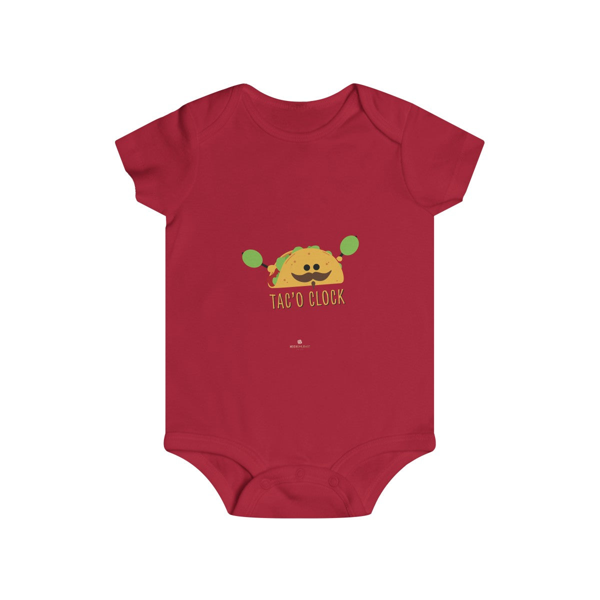 Taco Lover Cute Infant Rip Snap Tee Regular Fit Soft Cotton Baby Bodysuits -Made in USA-Infant Short Sleeve Bodysuit-Printify-DTG2Go-Red-6m-Heidi Kimura Art LLC