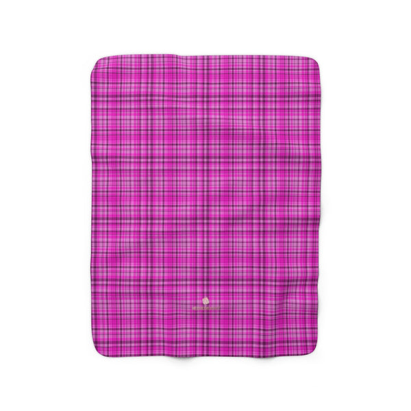 Pink Tartan Plaid Print Designer Cozy Sherpa Fleece Blanket-Made in USA-Blanket-50'' x 60''-Heidi Kimura Art LLC