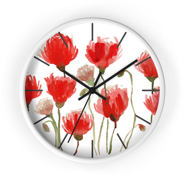 Orange Red Tulips Floral Print Large 10 inch Diameter Flower Wall Clock - Made in USA-Wall Clock-White-Black-Heidi Kimura Art LLC