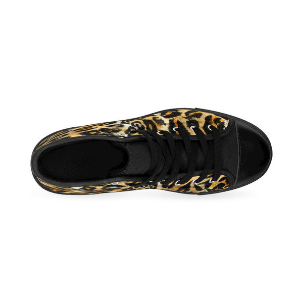 Brown Snow Leopard Print Men's Sneakers, Leopard Animal Print Men's High Top Sneakers-Men's High Top Sneakers-Heidi Kimura Art LLC