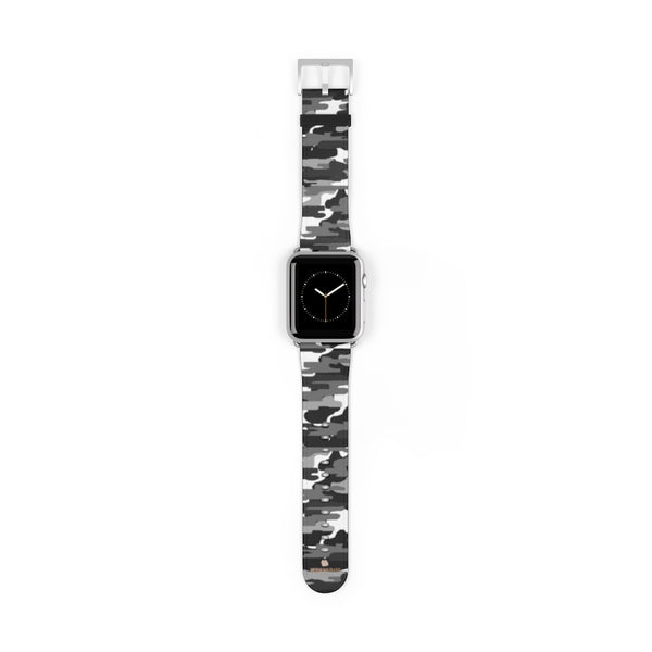 Gray & White Classic Camo Print 38mm/42mm Watch Band For Apple Watch- Made in USA-Watch Band-42 mm-Silver Matte-Heidi Kimura Art LLC
