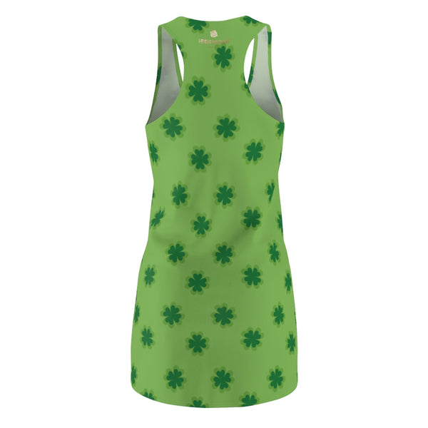 Light Green Clover Leaf Print St. Patty's Day Long Regular Fit Women's Racerback Dress-Made in USA-Women's Sleeveless Dress-Heidi Kimura Art LLC