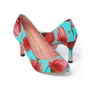 "Japanese Geisha Beauty Red Poppy Flower in Blue Designer Women's 3"" High Heels-3 inch Heels-US 7-Heidi Kimura Art LLC"