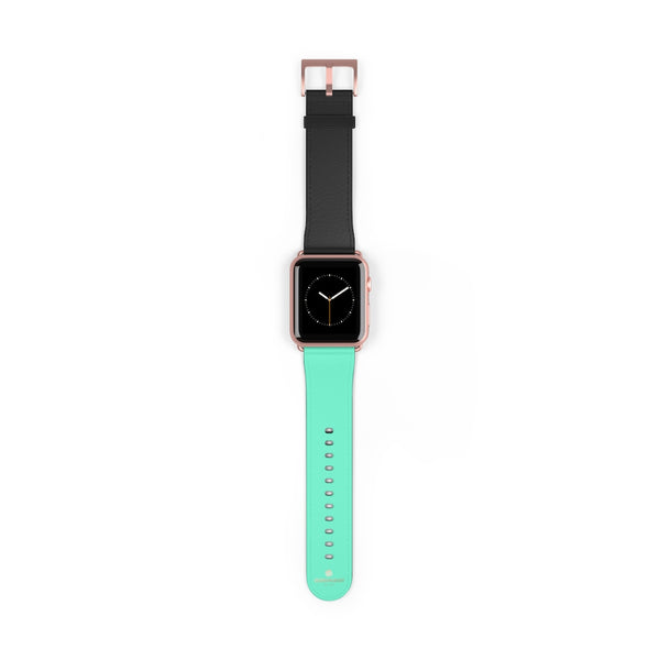 Dual Color Black & Light Blue 38mm/ 42mm Watch Band For Apple Watch- Made in USA-Watch Band-42 mm-Rose Gold Matte-Heidi Kimura Art LLC
