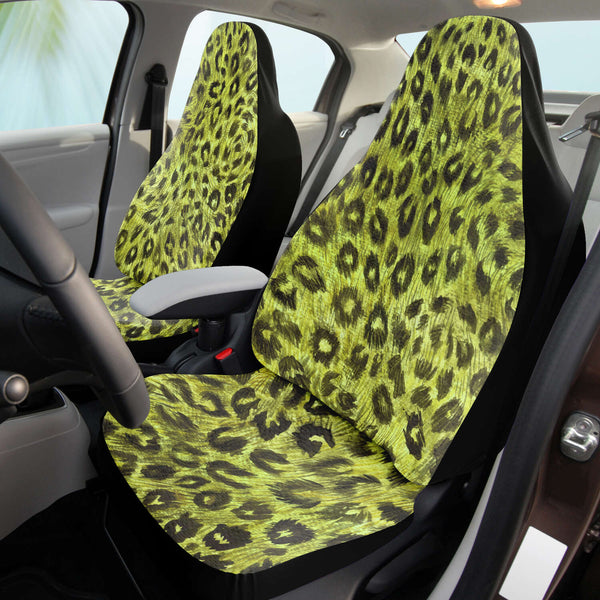 Leopard Car Seat Cover, Green Leopard Animal Print Designer Essential Premium Quality Best Machine Washable Microfiber Luxury Car Seat Cover - 2 Pack For Your Car Seat Protection, Cart Seat Protectors, Car Seat Accessories, Pair of 2 Front Seat Covers, Custom Seat Covers