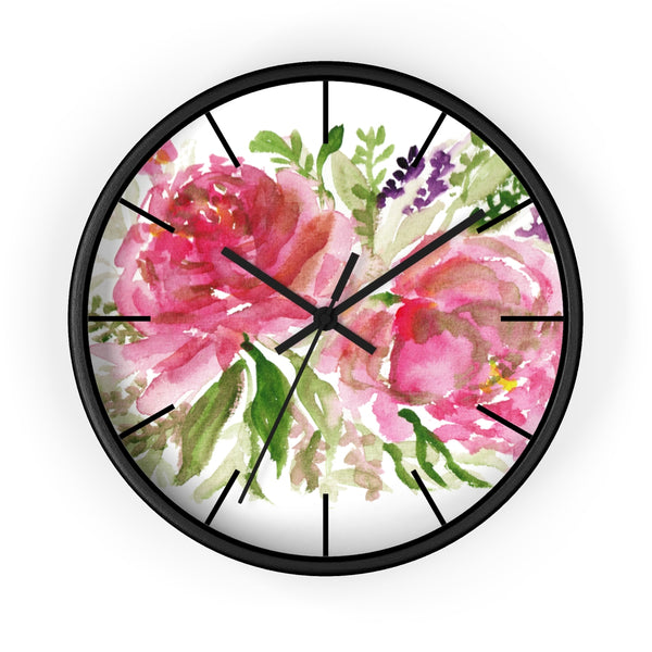 Pink Spring Rose Floral Print Flower 10 inch Diameter Flower Wall Clock - Made in USA-Wall Clock-Black-Black-Heidi Kimura Art LLC Pink Rose Floral Clock, Pink Spring Rose Floral Print Flower 10 inch Diameter Flower Wall Clock - Made in USA