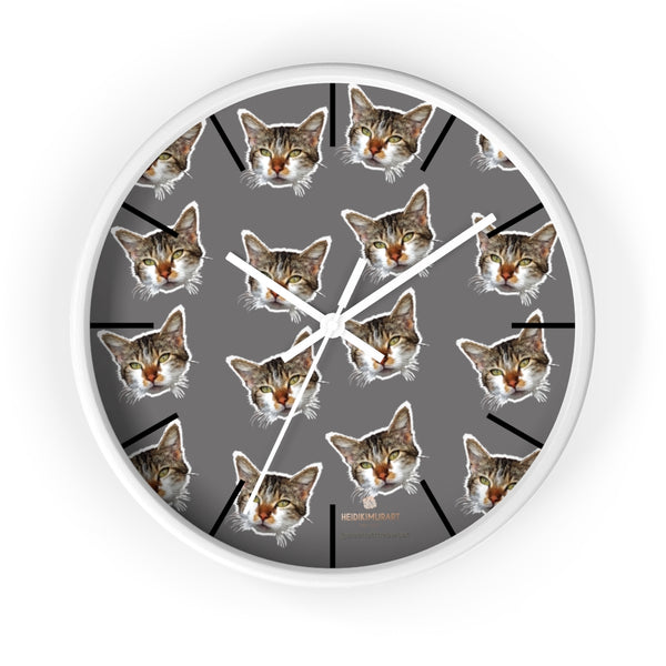 "Gray Cat Print Wall Clock, Cute Calico Cat Unique 10"" Dia. Indoor Wall Clocks- Made in USA-Wall Clock-10 in-White-White-Heidi Kimura Art LLC"