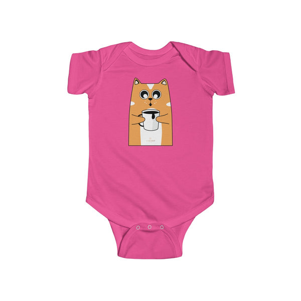 Orange Cat Loves Coffee Infant Fine Jersey Regular Fit Unisex Bodysuit - Made in UK-Infant Short Sleeve Bodysuit-Hot Pink-NB-Heidi Kimura Art LLC
