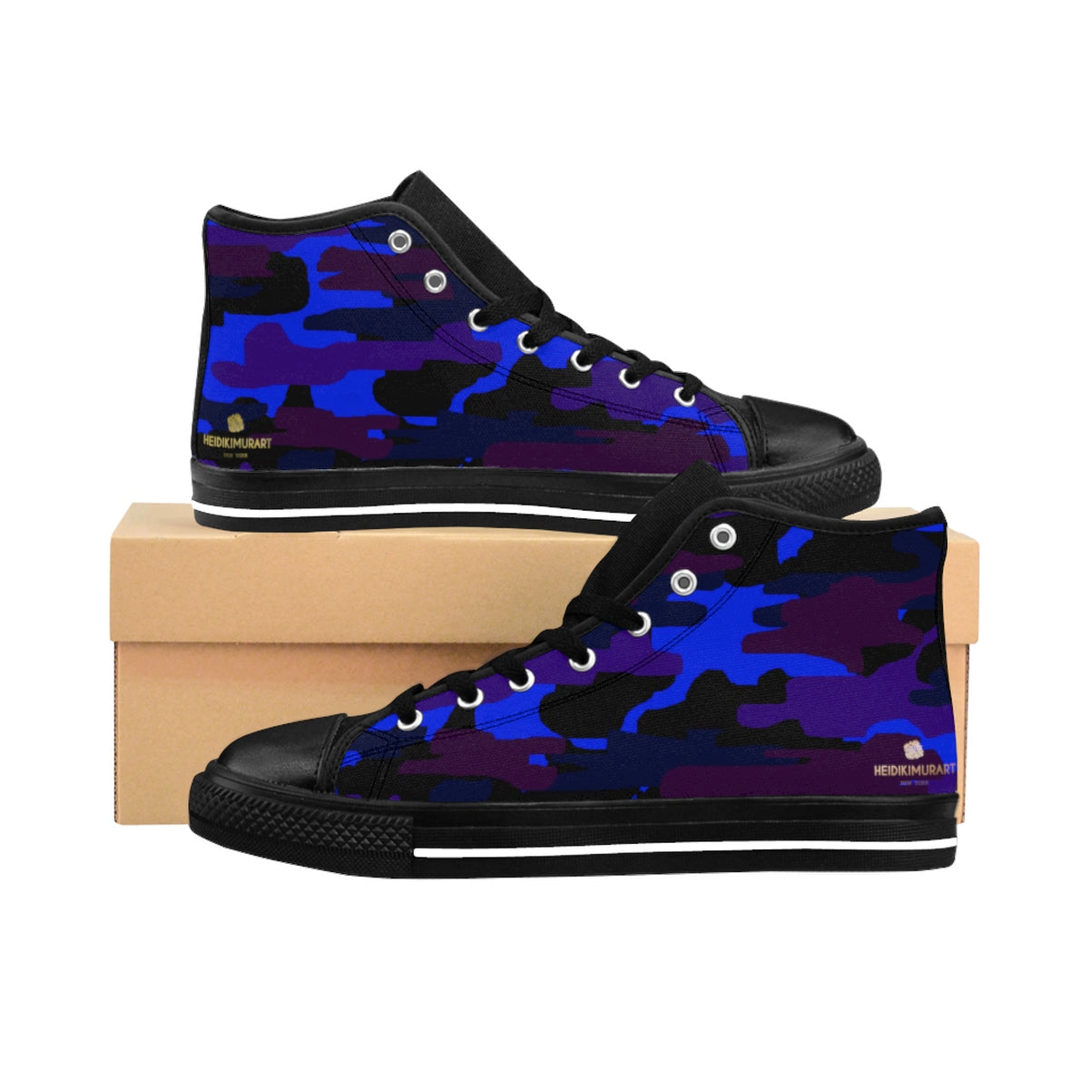 Dark Purple Blue Camouflage Camo Army Military Print Men's High-top Sneakers Shoes-Men's High Top Sneakers-Black-US 9-Heidi Kimura Art LLC
