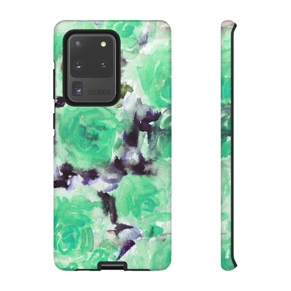 Turquoise Floral Print Tough Cases, Designer Phone Case-Made in USA-Phone Case-Printify-Samsung Galaxy S20 Ultra-Matte-Heidi Kimura Art LLC