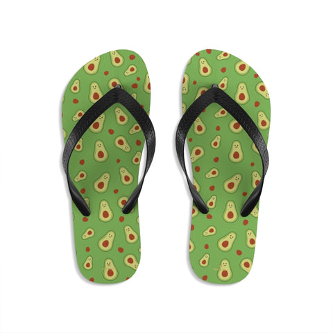 Green Avocado Cute Print Unisex Flip-Flops Beach Pool Sandals For Men/ Women- Made in USA-Flip-Flops-Small-Heidi Kimura Art LLC