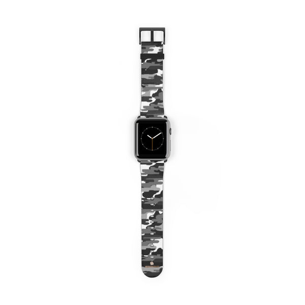 Gray & White Classic Camo Print 38mm/42mm Watch Band For Apple Watch- Made in USA-Watch Band-42 mm-Black Matte-Heidi Kimura Art LLC