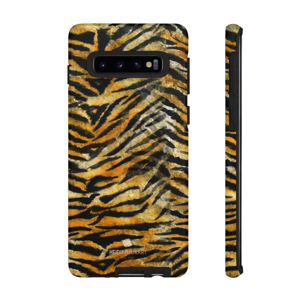 Orange Tiger Striped Phone Case, Animal Print Tough Cases, Designer Phone Case-Made in USA-Phone Case-Printify-Samsung Galaxy S10-Glossy-Heidi Kimura Art LLC