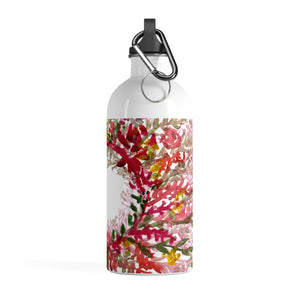 Rei Appreciation Red Floral Print Stainless Steel Water Bottle - Made in the USA - Heidi Kimura Art LLC