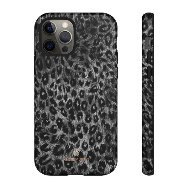 Grey Leopard Animal Print Tough Cases, Designer Phone Case-Made in USA-Phone Case-Printify-iPhone 12 Pro-Glossy-Heidi Kimura Art LLC