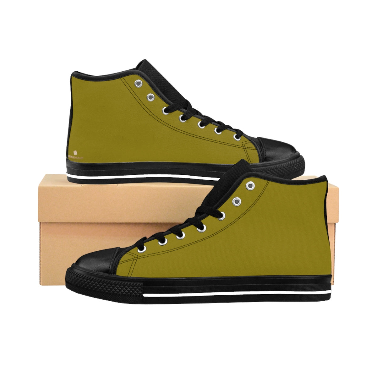 Olive Green Solid Color Women's High Top Sneakers Running Shoes (US Size 6-12)-Women's High Top Sneakers-US 9-Heidi Kimura Art LLCOlive Green Women's Sneakers, Modern Classic Sporty Olive Green Solid Color Women's High Top Sneakers Running Shoes (US Size 6-12)