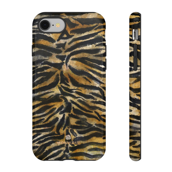 Brown Tiger Striped Tough Cases, Animal Print Best Designer Phone Case-Made in USA-Phone Case-Printify-iPhone 8-Glossy-Heidi Kimura Art LLC