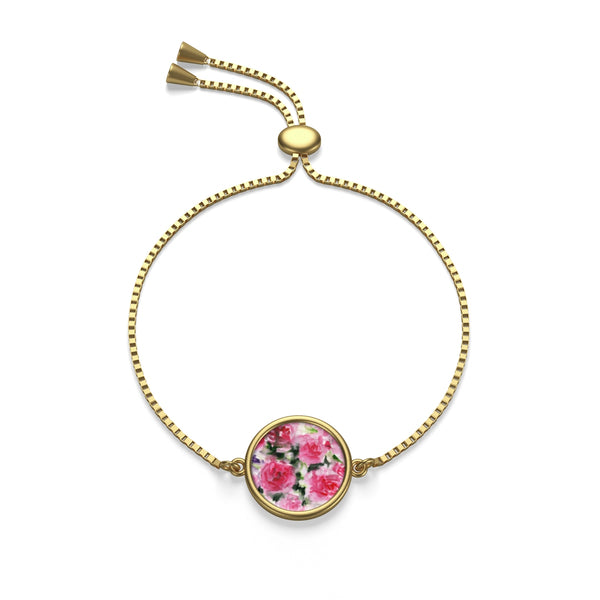 Classical Light Pink French Rose  18K Gold/Sterling Silver Plated Box Chain Bracelet - Heidi Kimura Art LLC