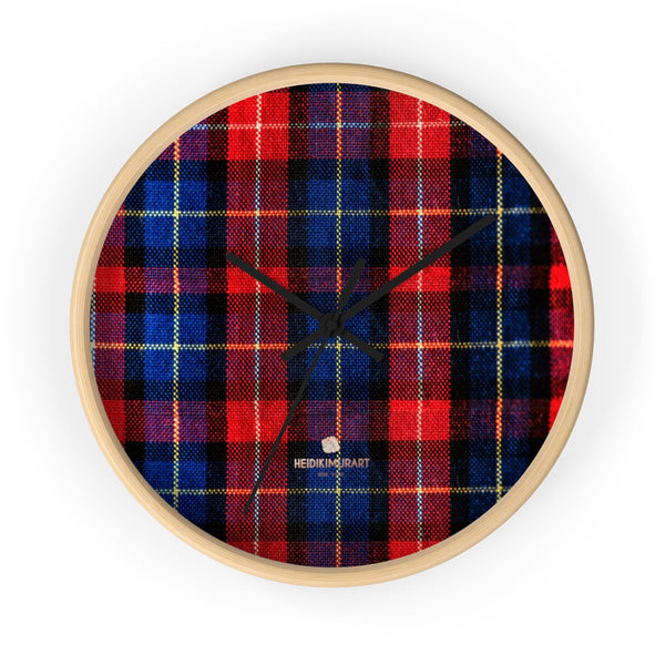 Classic Red Plaid Pattern London Calling Modern 10 in. Diameter Wall Clock-Made in USA-Wall Clock-10 in-Wooden-Black-Heidi Kimura Art LLC