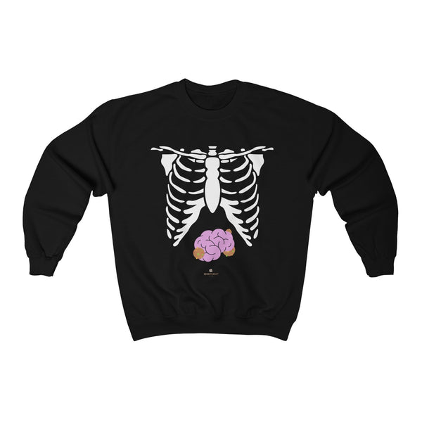 White Skeleton Torso Halloween Unisex Heavy Blend Crewneck Sweatshirt-Made in USA-Long-sleeve-Black-L-Heidi Kimura Art LLC
