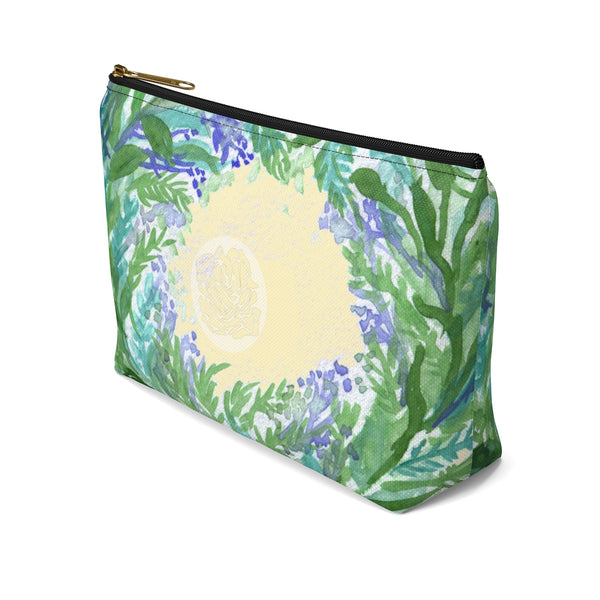 Yellow Purple French Lavender Floral Print Designer Accessory Pouch with T-bottom-Accessory Pouch-Heidi Kimura Art LLC