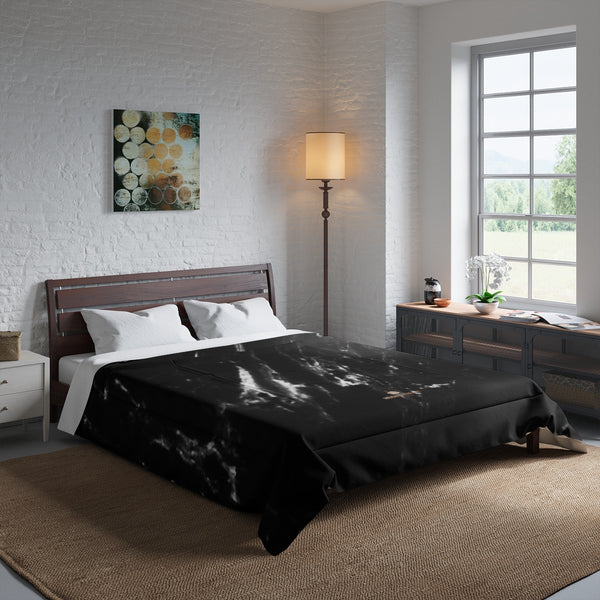 Black Marble Print Comforter, Luxury Best Comforter For King/Queen/Full/Twin Size Bed-Comforter-Heidi Kimura Art LLC