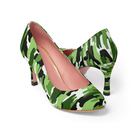 Green White Camo Military Army Print Premium Women's High Heels Bestselling Shoes-3 inch Heels-US 7-Heidi Kimura Art LLC