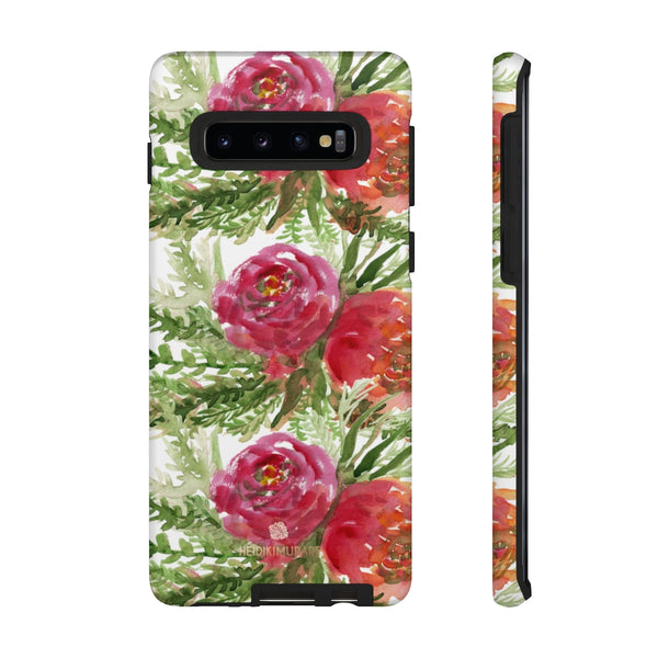 Red Orange Floral Phone Case, Flower Print Tough Designer Phone Case -Made in USA-Phone Case-Printify-Samsung Galaxy S10-Matte-Heidi Kimura Art LLC