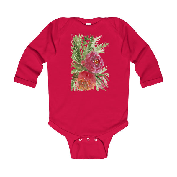Floral Red Orange Rose Infant Long Sleeve Bodysuit - Made in UK (UK Size: 6M-24M)-Kids clothes-Red-12M-Heidi Kimura Art LLC
