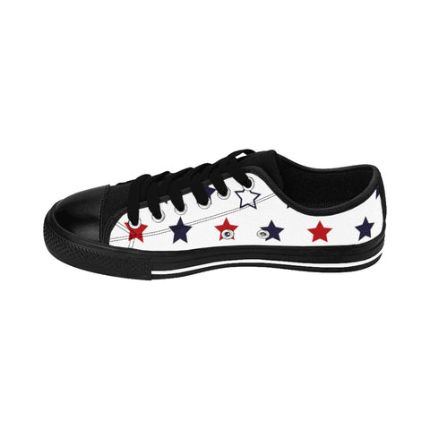 Men's July 4th Print Men's Low Top Sneakers Running Tennis Running Shoes (US Size: 6-14)-Men's Low Top Sneakers-Heidi Kimura Art LLC Men's July 4th Sneakers, American Flag Men's July 4th Men's Low Top Sneakers Running Tennis Shoes (US Size: 6-14)