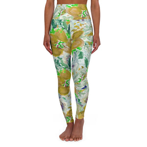 Yellow Floral Yoga Tights, High Waisted Yoga Leggings, Patterned Long Women's Pants-All Over Prints-Printify-XL-Heidi Kimura Art LLC